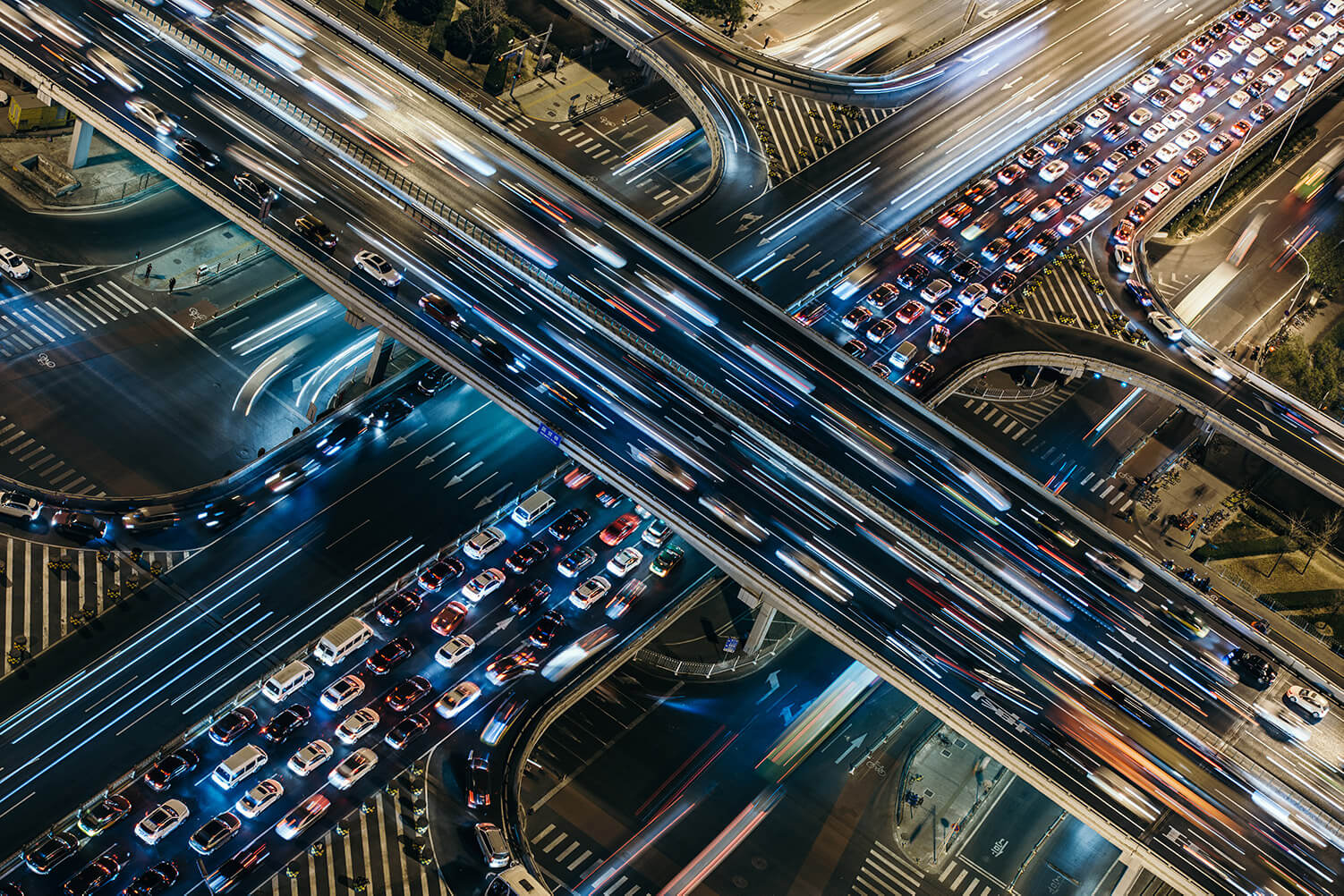 Highway junction aerial view at night time