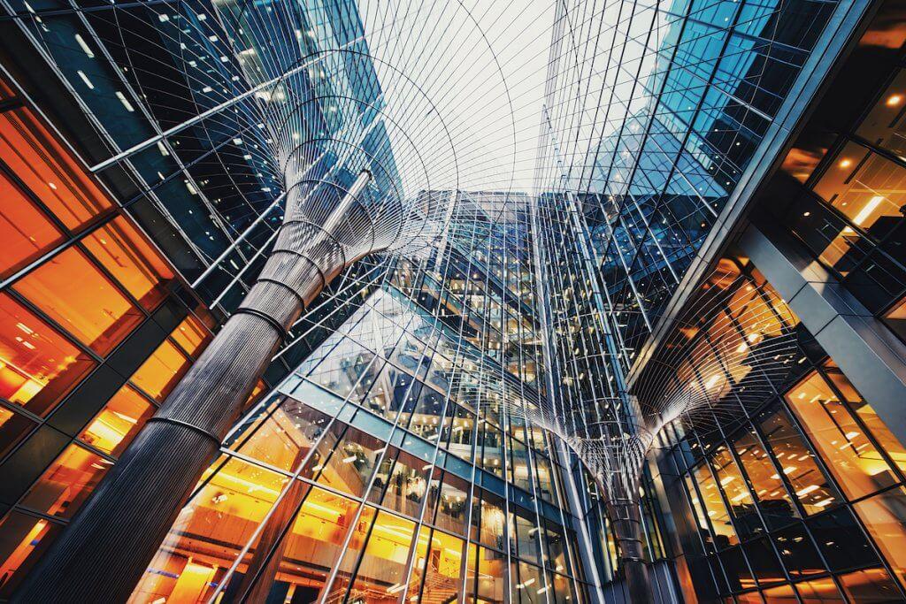 Illuminated office buildings at Canary Wharf, London