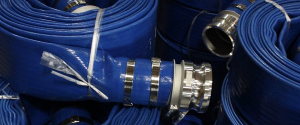 Close up of rolled-up blue fire hoses