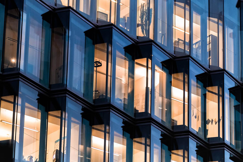 Modern glass facade of office building
